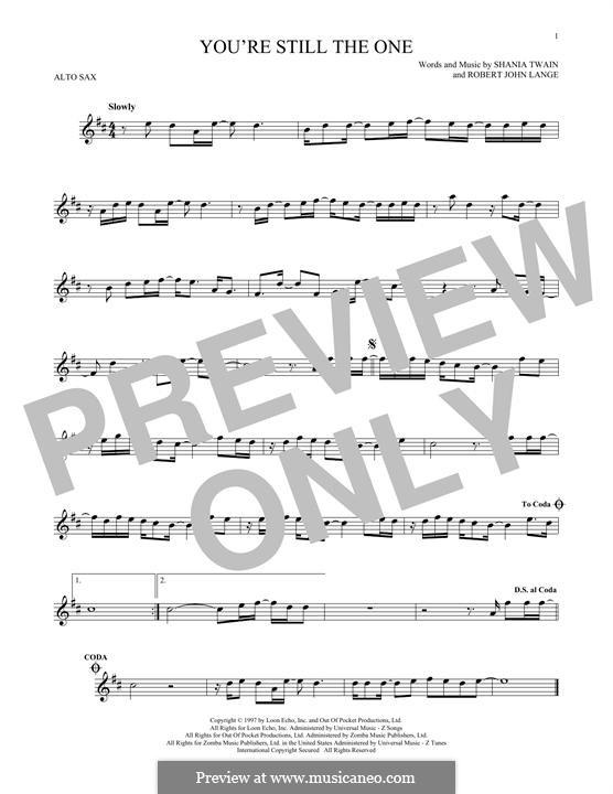 You're Still the One: para Saxofone Alto by Robert John Lange, Shania Twain