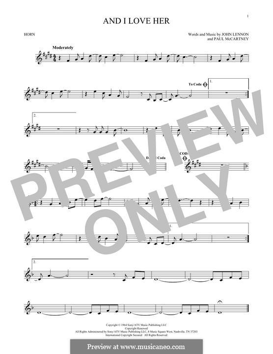 And I Love Her (The Beatles): For horn by John Lennon, Paul McCartney