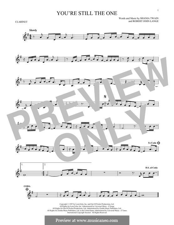 You're Still the One: para clarinete by Robert John Lange, Shania Twain