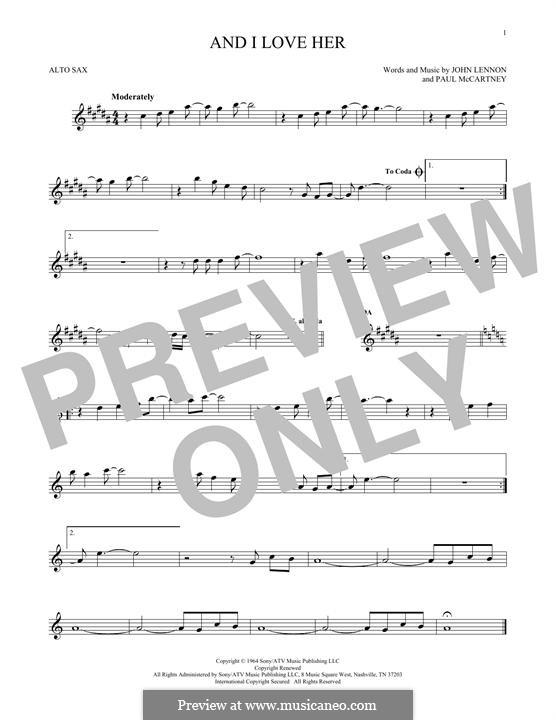 And I Love Her (The Beatles): para Saxofone Alto by John Lennon, Paul McCartney