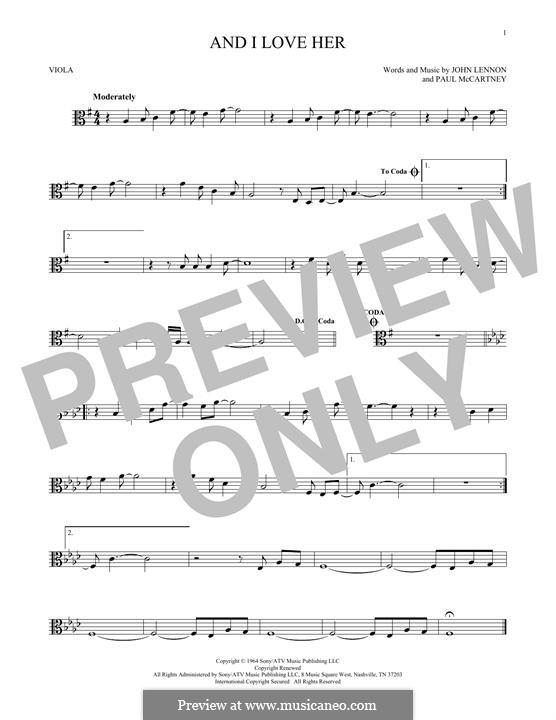 And I Love Her (The Beatles): para viola by John Lennon, Paul McCartney