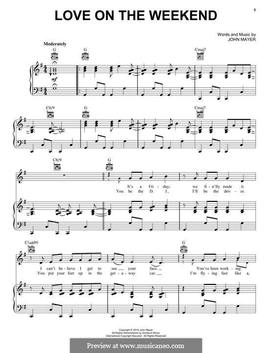 Love on the Weekend: Para vocais e piano (ou Guitarra) by John Mayer