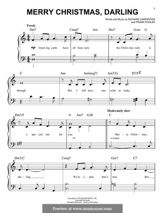 Merry Christmas, Darling (Carpenters): Para Piano by Frank Pooler, Richard Carpenter