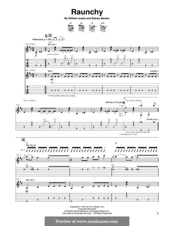 Raunchy: Para guitarra com guia by Sidney Manker, William Justis