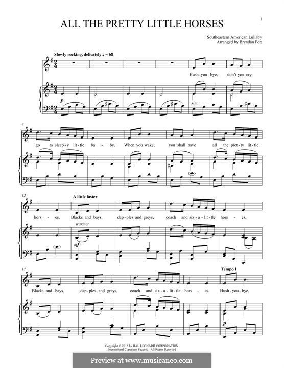 All the Pretty Little Horses: Para vocais e piano by folklore