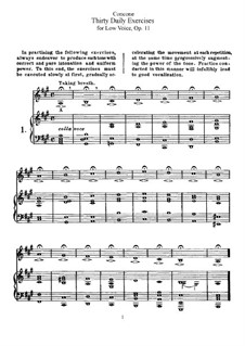 Thirty Daily Exercices, Op.11: For low voice by Giuseppe Concone
