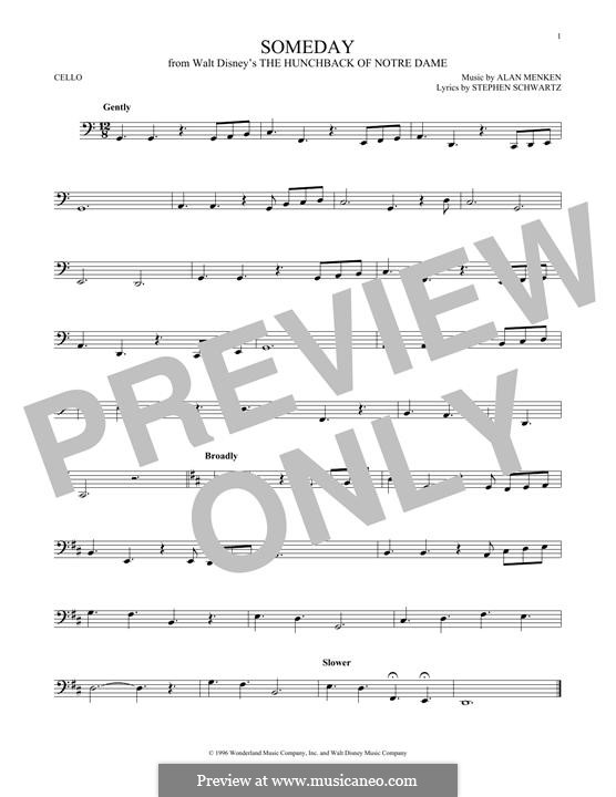 Someday (from Walt Disney's The Hunchback of Notre Dame): para violoncelo by Alan Menken