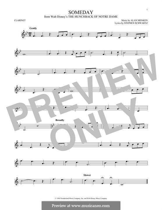 Someday (from Walt Disney's The Hunchback of Notre Dame): para clarinete by Alan Menken