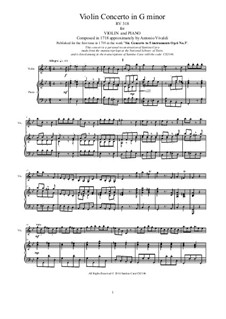 Six Violin Concertos, Op.6: Concerto No.3 in G Minor. Version for violin and piano, RV 318 by Antonio Vivaldi