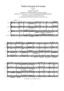 Six Violin Concertos, Op.6: Concerto No.3 in G Minor. Version for string quartet, RV 318 by Antonio Vivaldi
