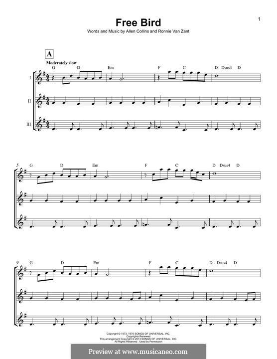 Free Bird (Lynyrd Skynyrd): para ukulele by Allen Collins, Ronnie Van Zant