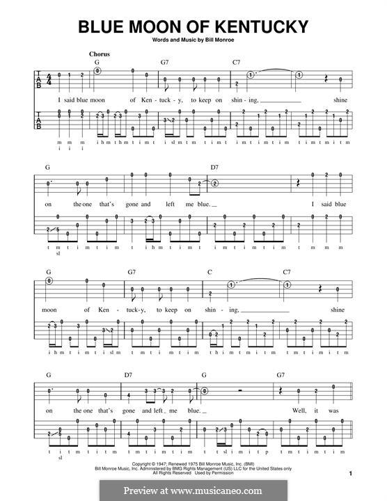 Blue Moon of Kentucky: For banjo by Bill Monroe