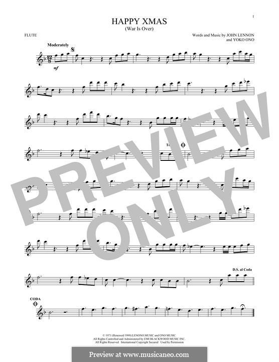 Happy Xmas (War Is Over): para flauta by John Lennon, Yoko Ono