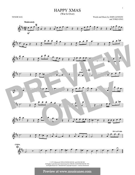 Happy Xmas (War Is Over): para saxofone tenor by John Lennon, Yoko Ono