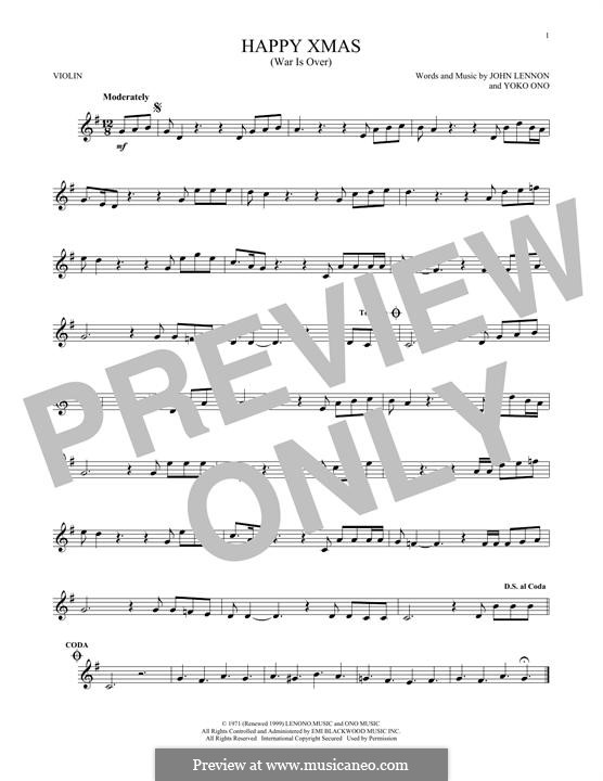 Happy Xmas (War Is Over): para violino by John Lennon, Yoko Ono