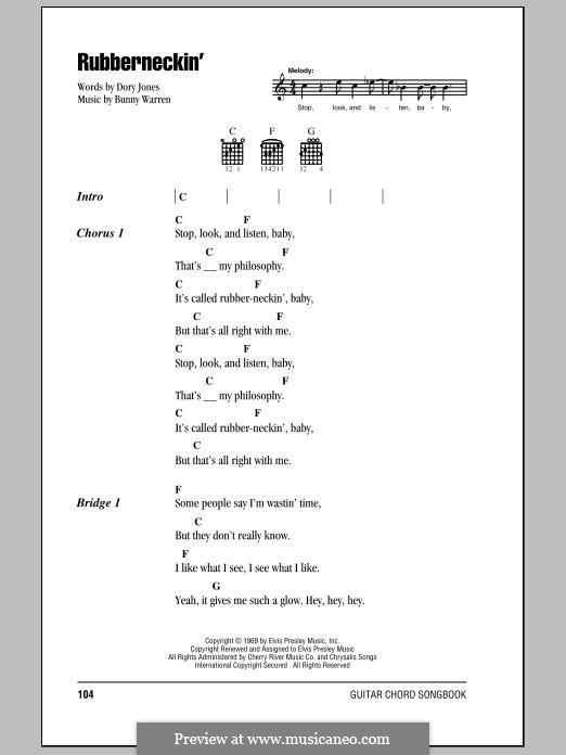 Rubberneckin' (Elvis Presley): Letras e Acordes by Bunny Warren