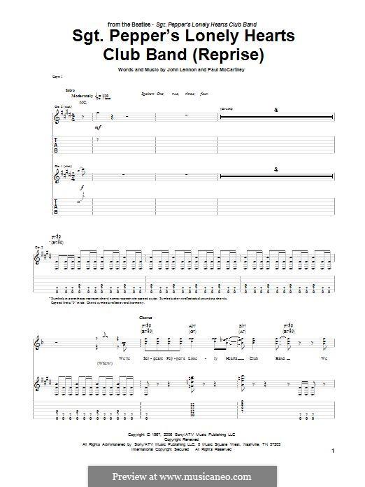 Sgt. Pepper's Lonely Hearts Club Band (The Beatles): Para guitarra com guia by John Lennon, Paul McCartney