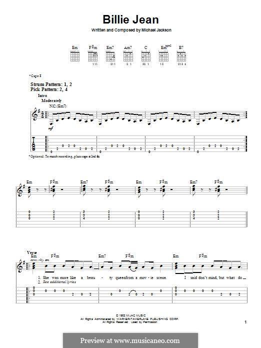 Billie Jean: Para guitarra com guia by Michael Jackson