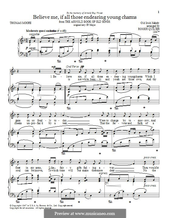 Believe Me, if All Those Endearing Young Charms: Para vocais e piano by folklore