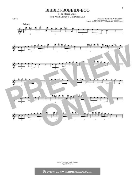 Bibbidi-Bobbidi-Boo (The Magic Song): para flauta by Al Hoffman, Mack David