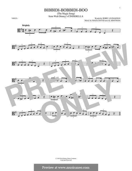 Bibbidi-Bobbidi-Boo (The Magic Song): para viola by Al Hoffman, Mack David