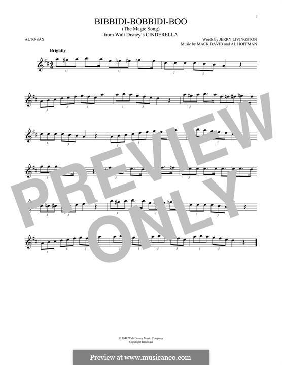 Bibbidi-Bobbidi-Boo (The Magic Song): para Saxofone Alto by Al Hoffman, Mack David