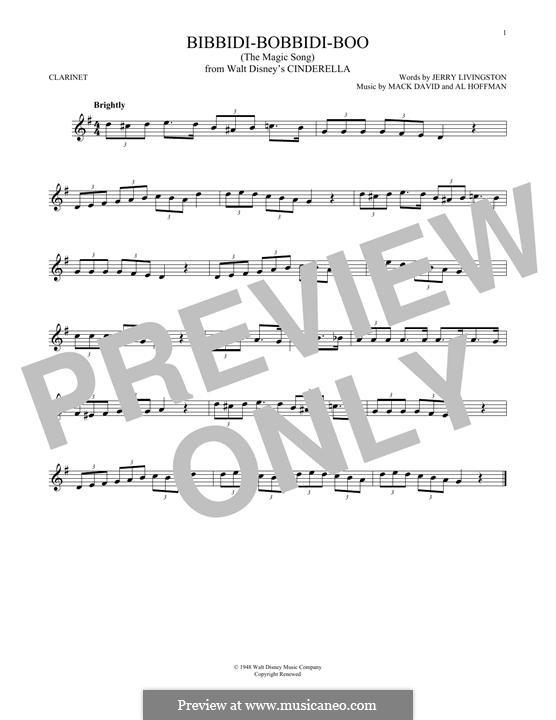 Bibbidi-Bobbidi-Boo (The Magic Song): para clarinete by Al Hoffman, Mack David