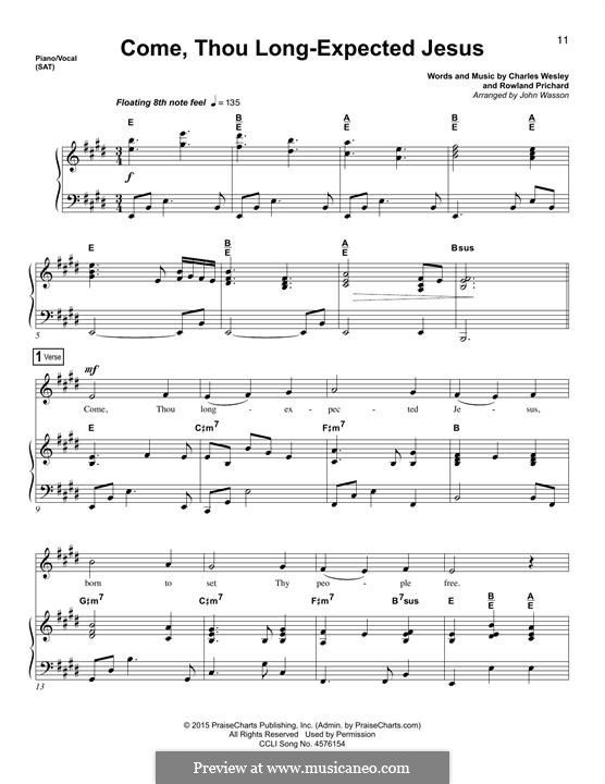 Come, Thou Long-Expected Jesus: Para vocais e piano by Rowland Huw Prichard