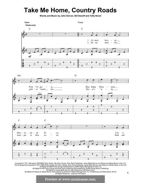 Take Me Home, Country Roads: Para guitarra com guia by Bill Danoff, John Denver, Taffy Nivert