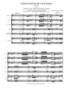 Six Violin Concertos, Op.6: Concerto No.1 in G Minor – score and all parts, RV 324 by Antonio Vivaldi