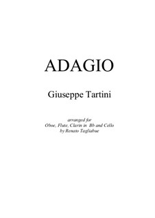 Adagio Cantabile: Arrangement for oboe, flute, clarin in Bb and cello - with parts by Giuseppe Tartini