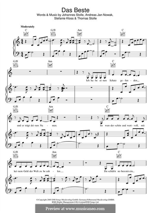 Das Beste (Silbermond): Para vocais e piano (ou Guitarra) by Johannes Stolle, Thomas Stolle, Andreas Jan Nowak, Stefanie Kloss
