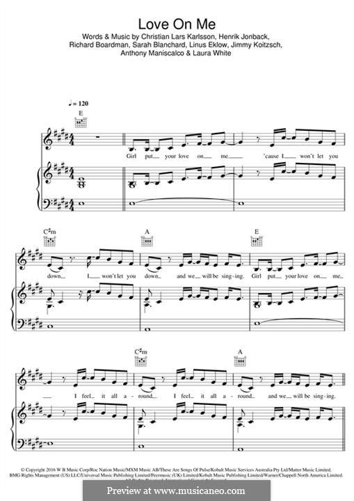 Love On Me (Galantis): Para vocais e piano (ou Guitarra) by Christian Karlsson, Henrik Jonback, Richard Boardman, Linus Eklow, Sarah Blanchard, Jimmy Koitzsch