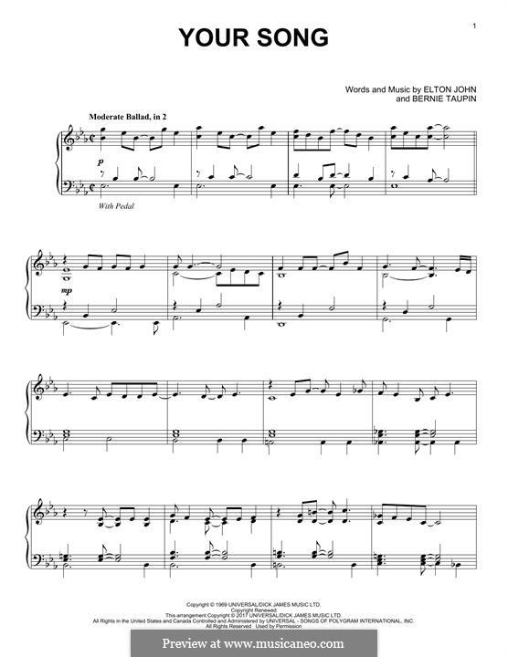Your Song: Para Piano by Elton John