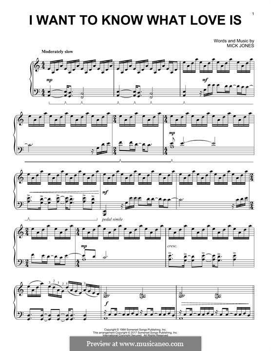 I Want to Know What Love Is (Foreigner): Para Piano by Mick Jones