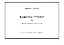 Violin Concerto No.4 in F Minor 'L'inverno', RV 297: arranjos para piano de quatro mãos by Antonio Vivaldi