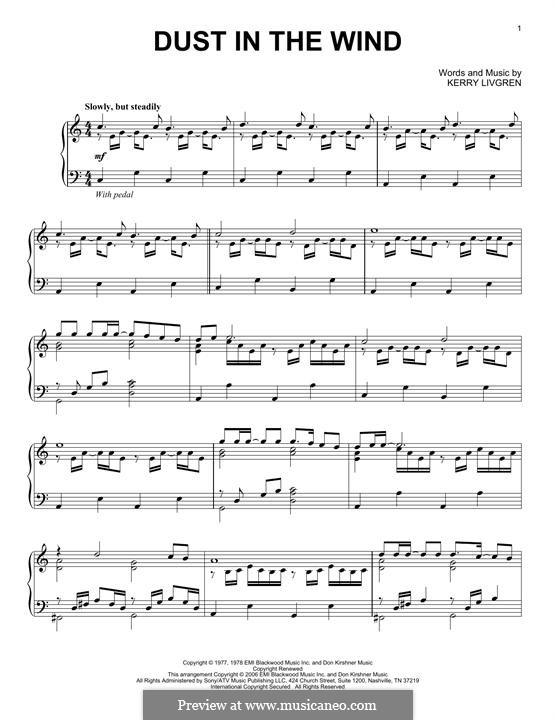 Dust in the Wind (Kansas): Para Piano by Kerry Livgren