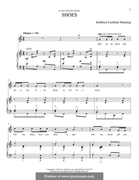 Shoes: Para vocais e piano by Kathleen Lockhart Manning