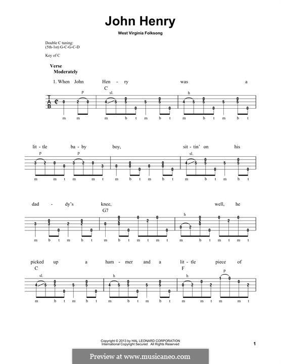 John Henry: For banjo by folklore
