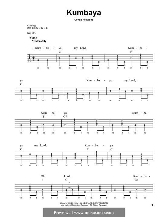 Kumbaya (Kum Ba Yah): For banjo by folklore