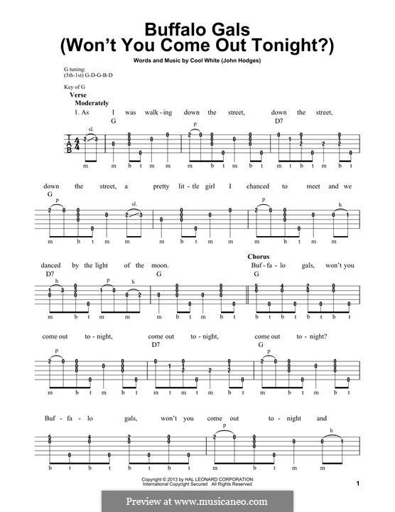 Buffalo Gals: For banjo by John Hodges