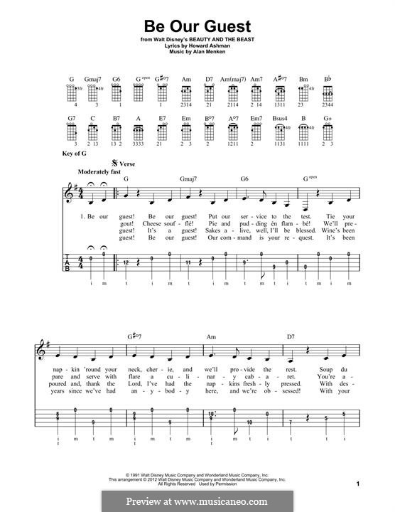 Be Our Guest (from Beauty and the Beast): For banjo by Alan Menken