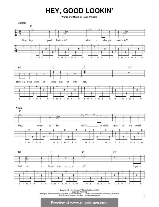 Hey, Good Lookin': For banjo by Hank Williams