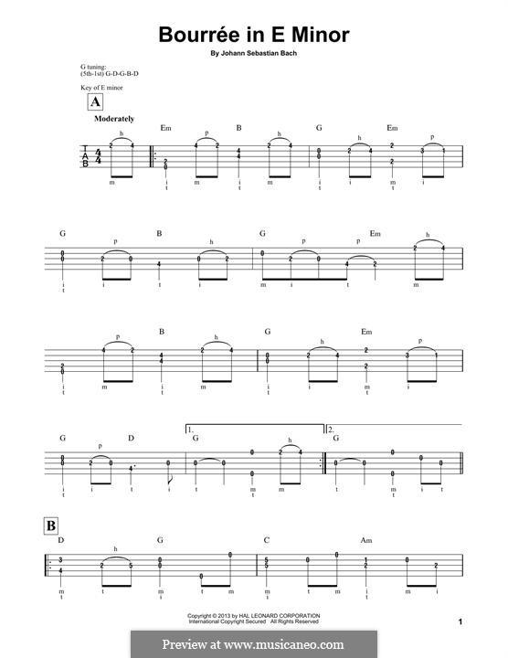 Suite for Lute (or Harpsichord) in E Minor, BWV 996: Bourrée. Version for banjo by Johann Sebastian Bach