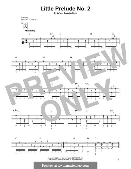 Twelve Little Preludes: Prelude No.2 in C Major, for banjo by Johann Sebastian Bach