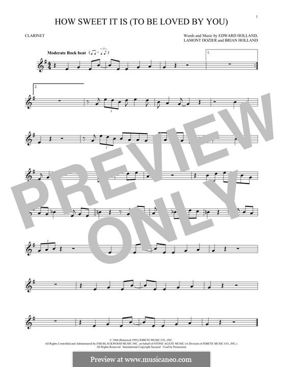 How Sweet It Is (To Be Loved By You): para clarinete by Brian Holland, Edward Holland Jr., Lamont Dozier