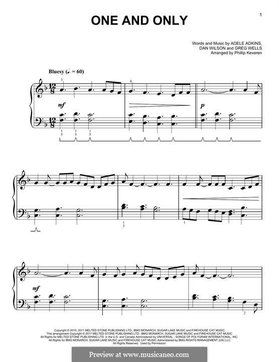 One and Only: Para Piano by Adele, Daniel Wilson, Greg Wells