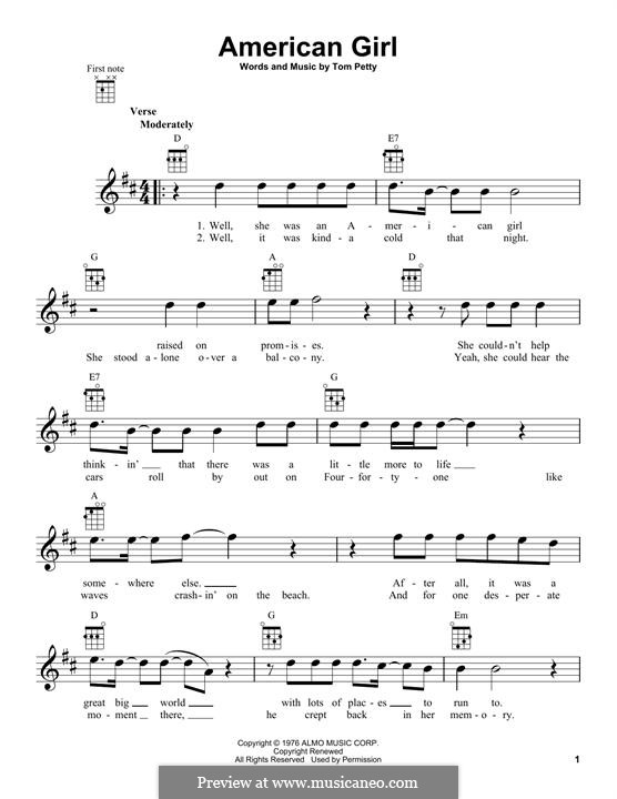 American Girl: para ukulele by Tom Petty