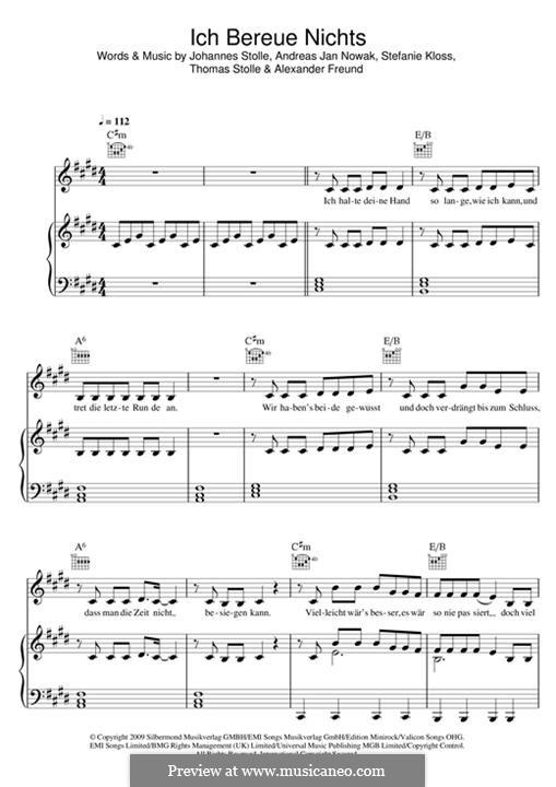 Ich Bereue Nichts (Silbermond): Para vocais e piano (ou Guitarra) by Johannes Stolle, Thomas Stolle, Andreas Jan Nowak, Stefanie Kloss, Alexander Freund