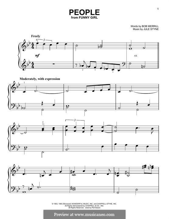 People from Funny Girl (Barbra Streisand): Para Piano by Jule Styne